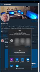 Windows 10 Twitter PWA Sharing Dialog