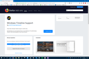 Firefox Extension - Windows Timeline Support
