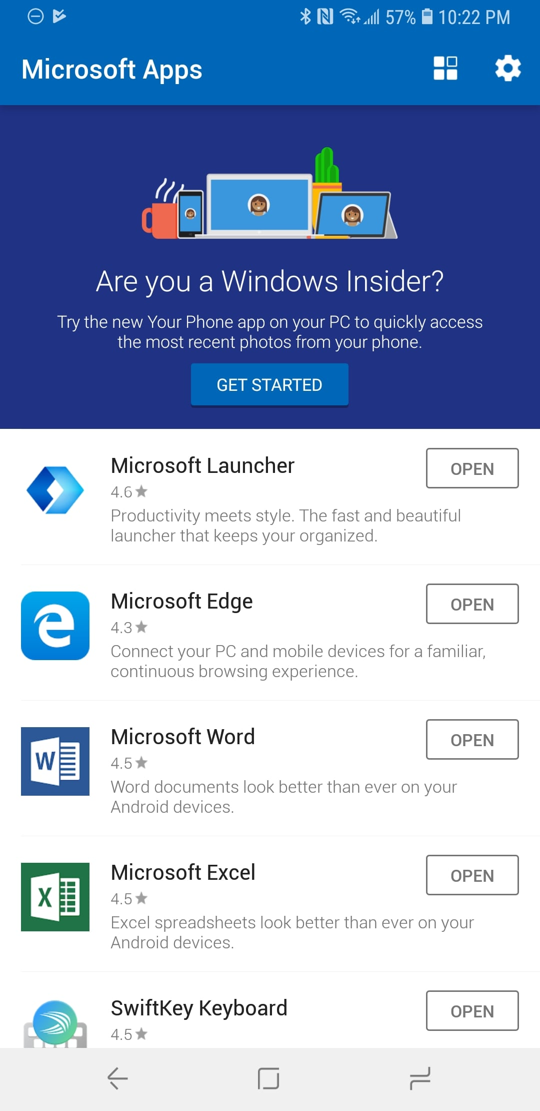 Microsoft Apps App on Android