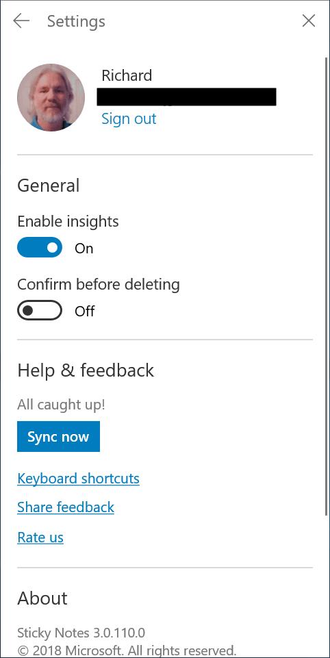 Sticky Notes on Windows 10 19H1 Skip Ahead