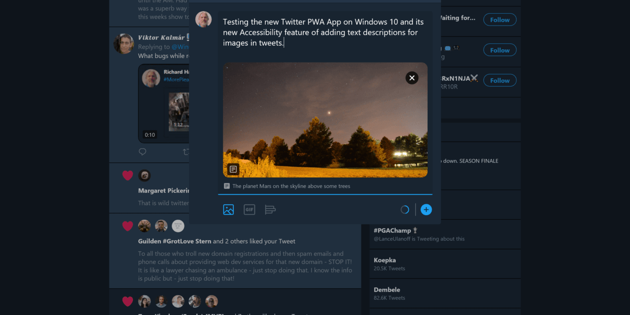 Accessibility Feature Added to Windows 10 Twitter PWA App
