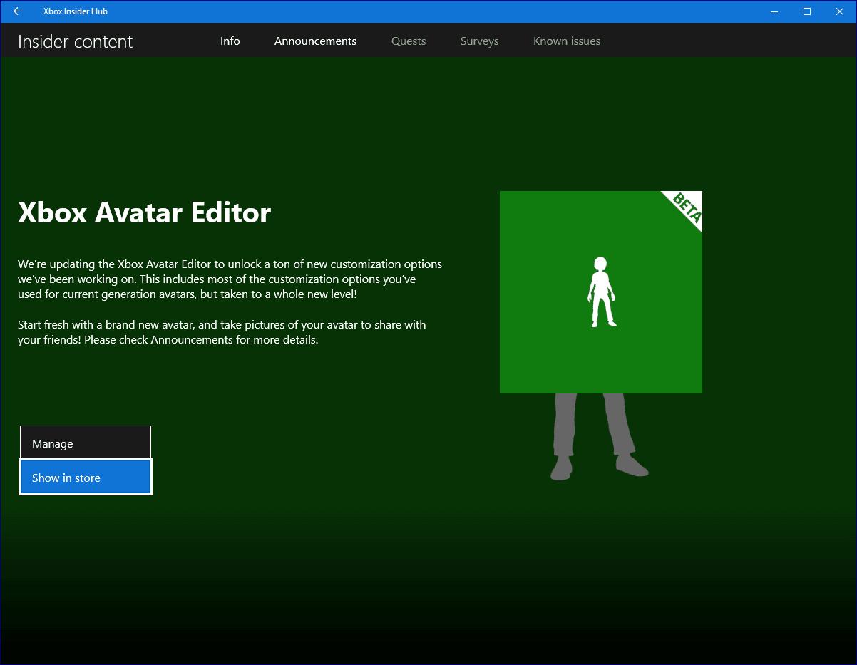 New Xbox Avatar App on Windows 10