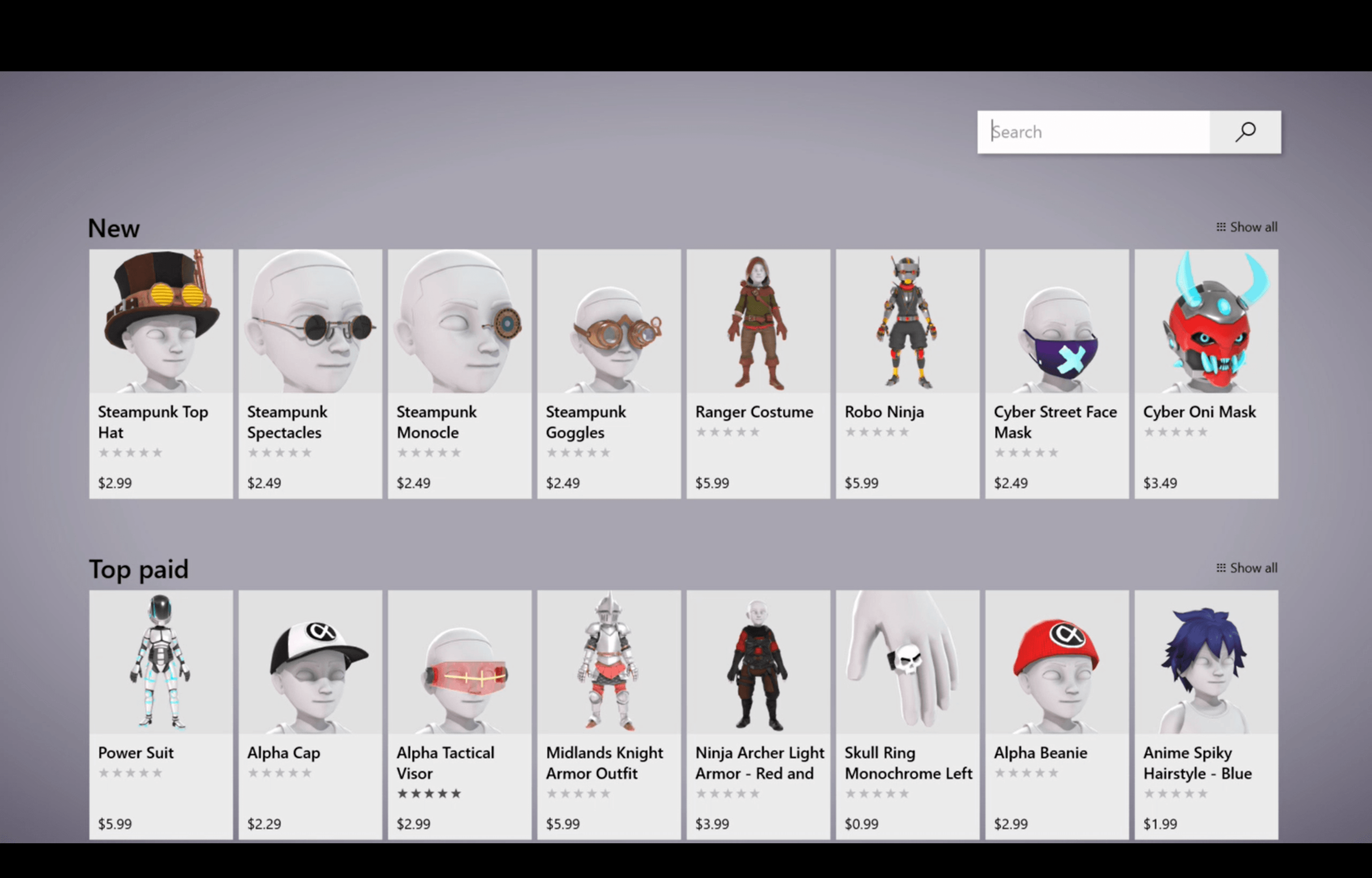 New Xbox Avatar Store on Xbox One