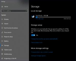 Storage Sense in Windows 10