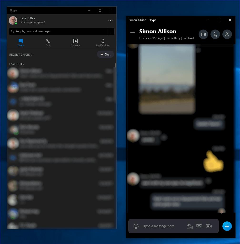 Skype Split View Mode
