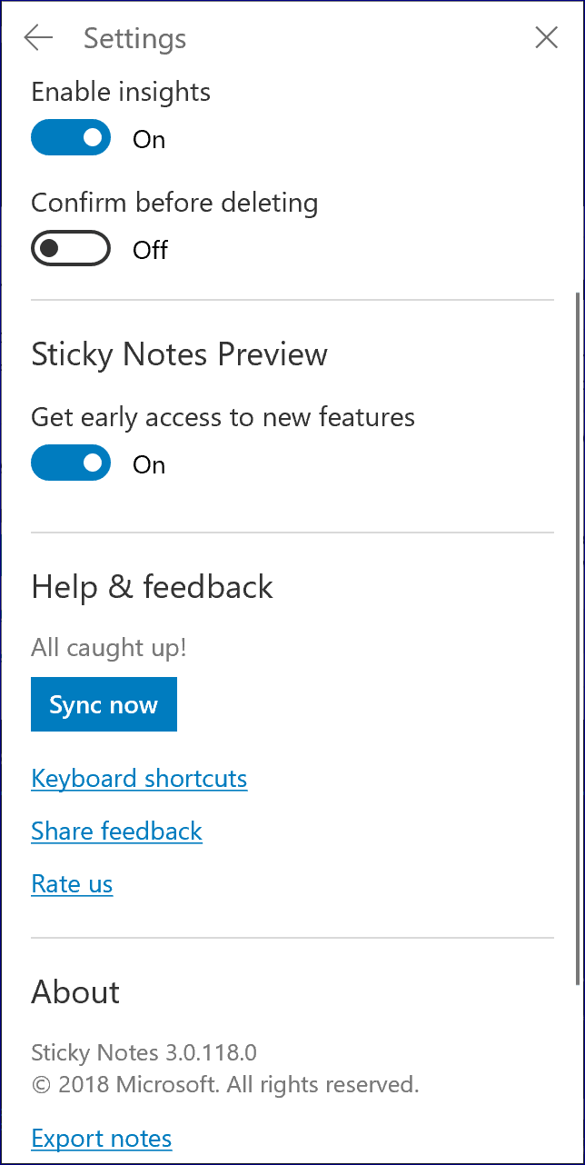 Sticky Notes Preview