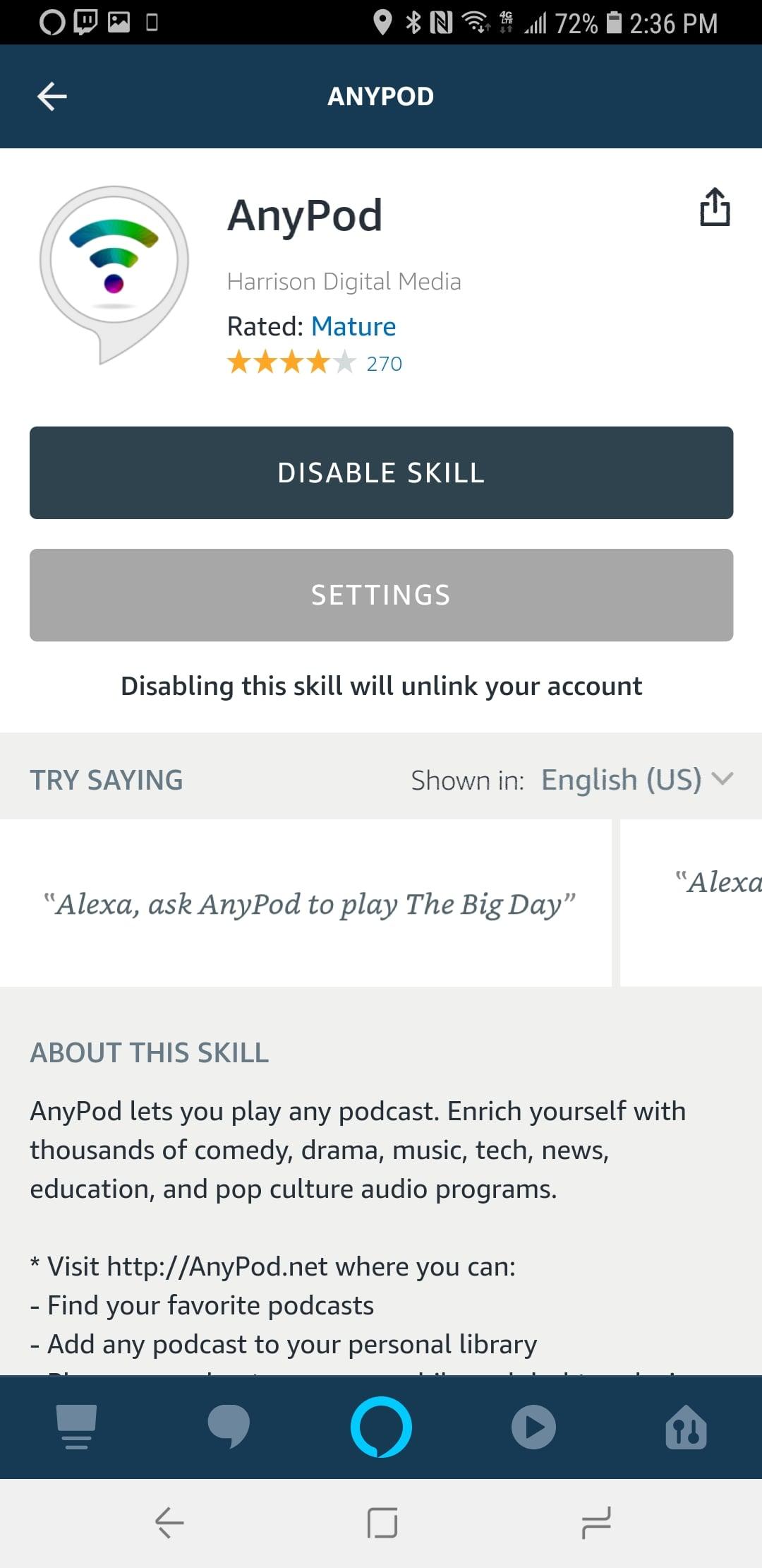 AnyPod Alexa Skill