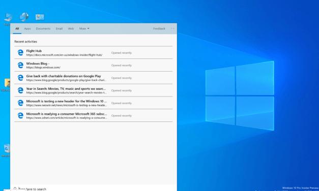 Windows 10 (19H1) Build 18298 Splits Out Search & Cortana