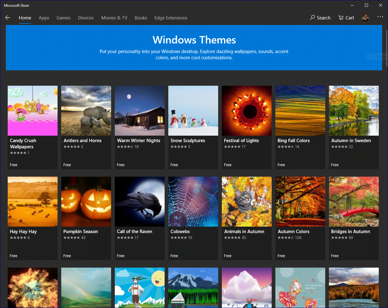 Themes for Windows 10 in the Microsoft Store