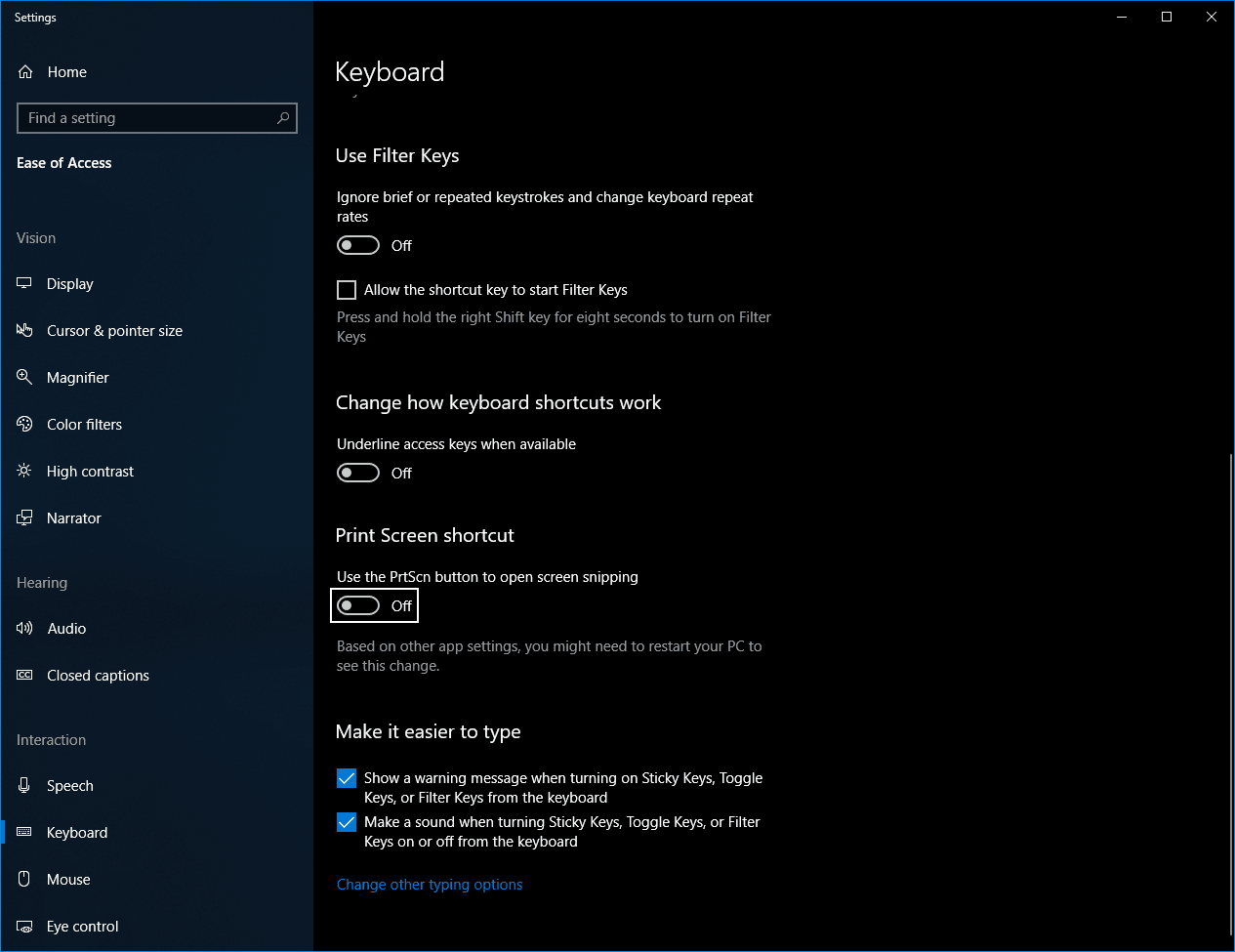 Print Screen Button Settings in Windows 10