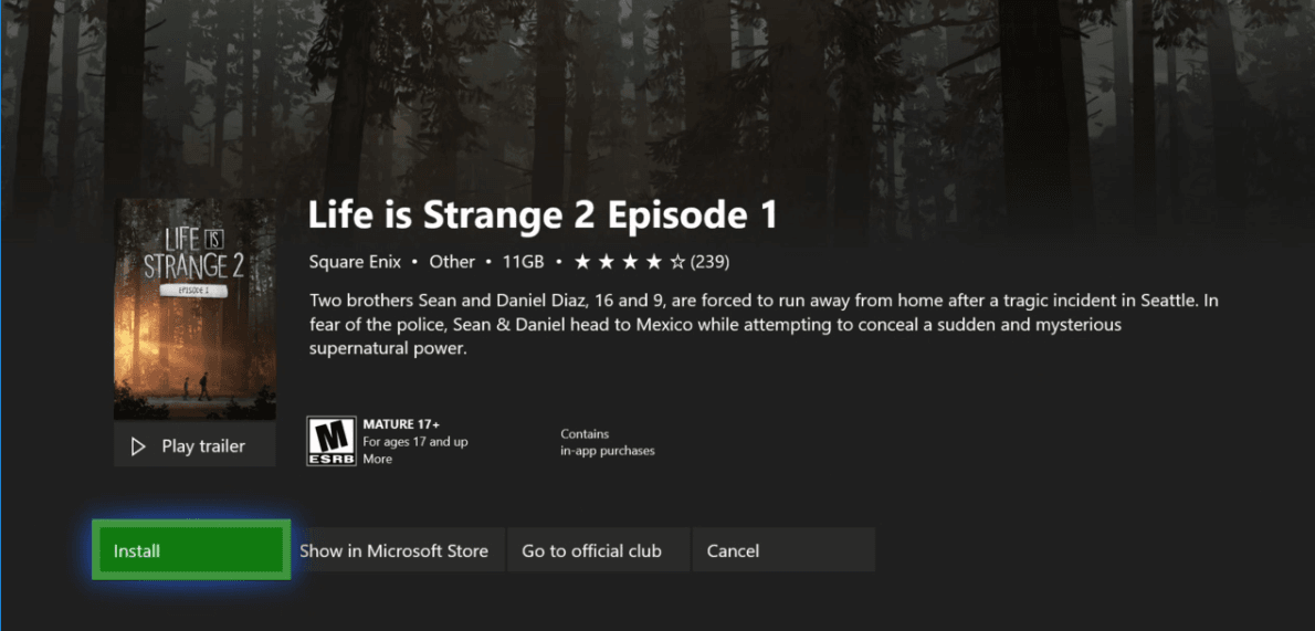 Life is Strange 2 Episode 1 - Game Pass