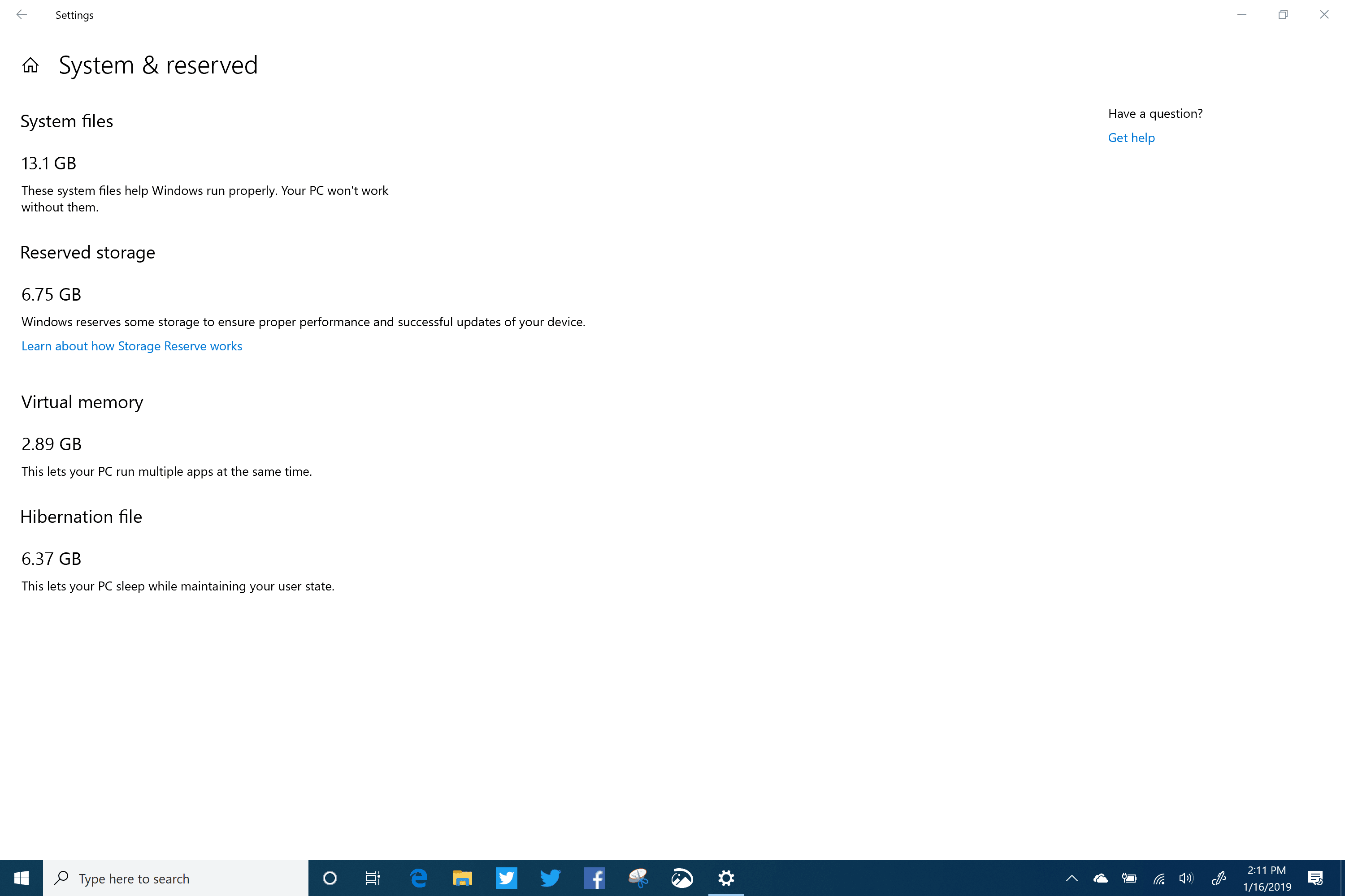 Reserved Storage in Windows 10 (19H1) Build 18317 Surface Book