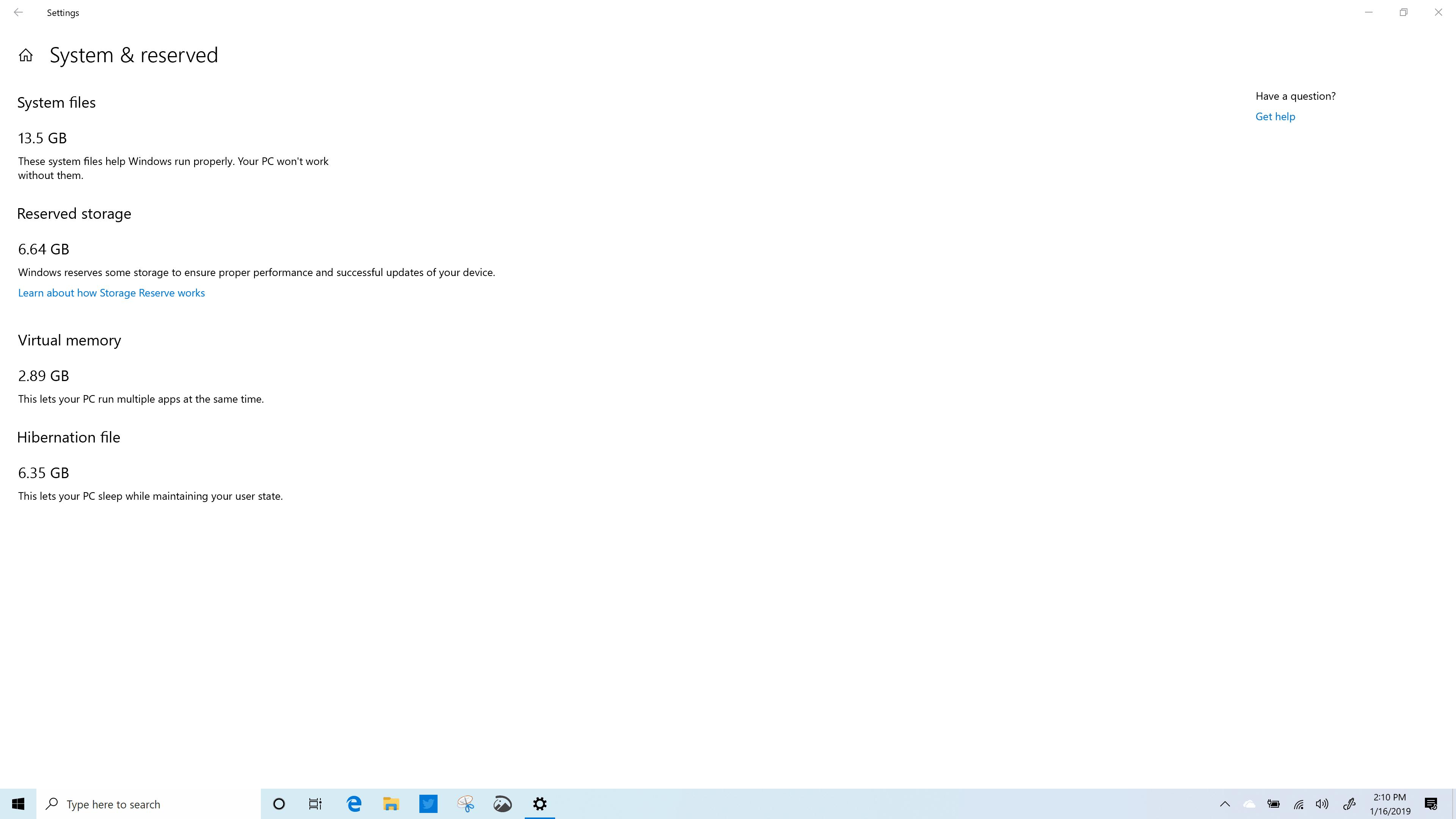 Reserved Storage in Windows 10 (19H1) Build 18317 Spectre x360