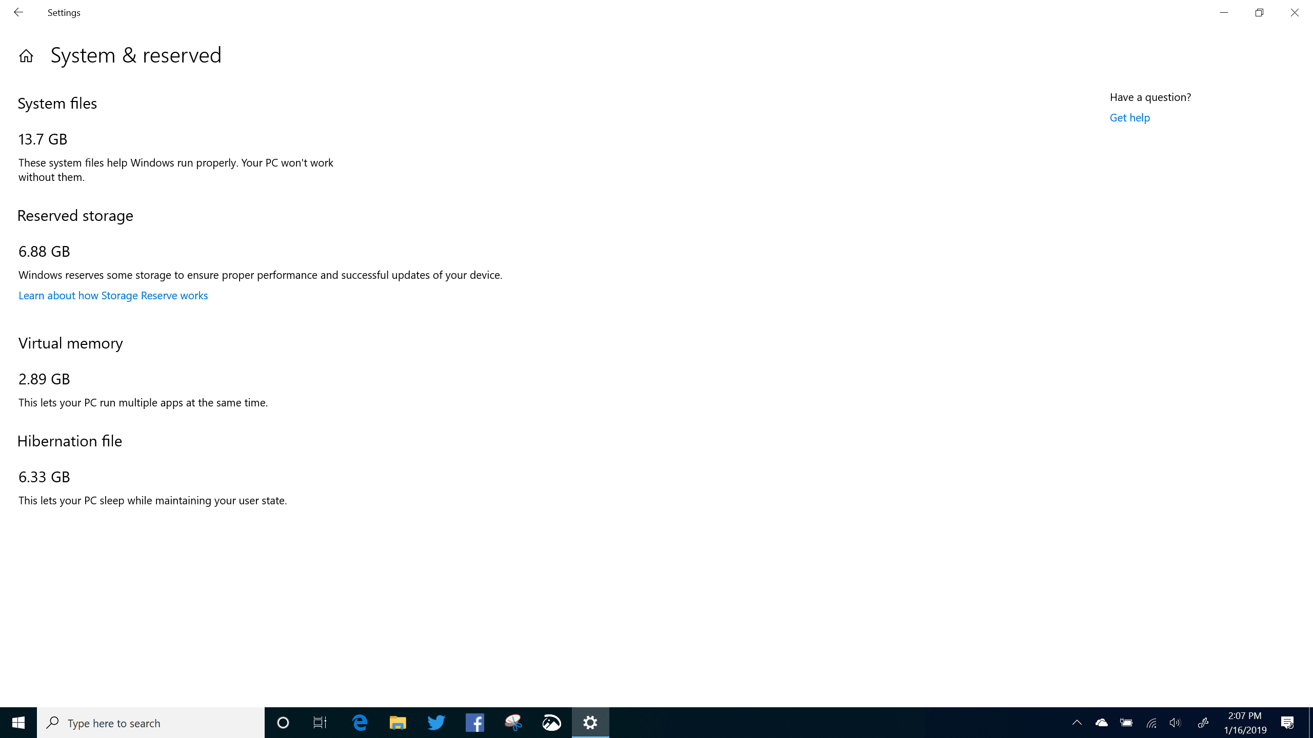 Reserved Storage in Windows 10 (19H1) Build 18317 X1 Yoga