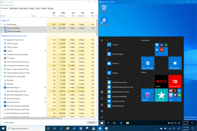 Windows Sandbox - Windows 10 (19H1) Build 18309 and Task Manager