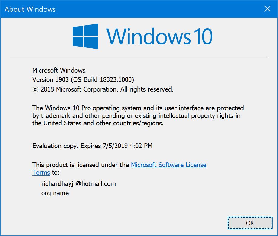 Windows 10 (19H1) Build 18323
