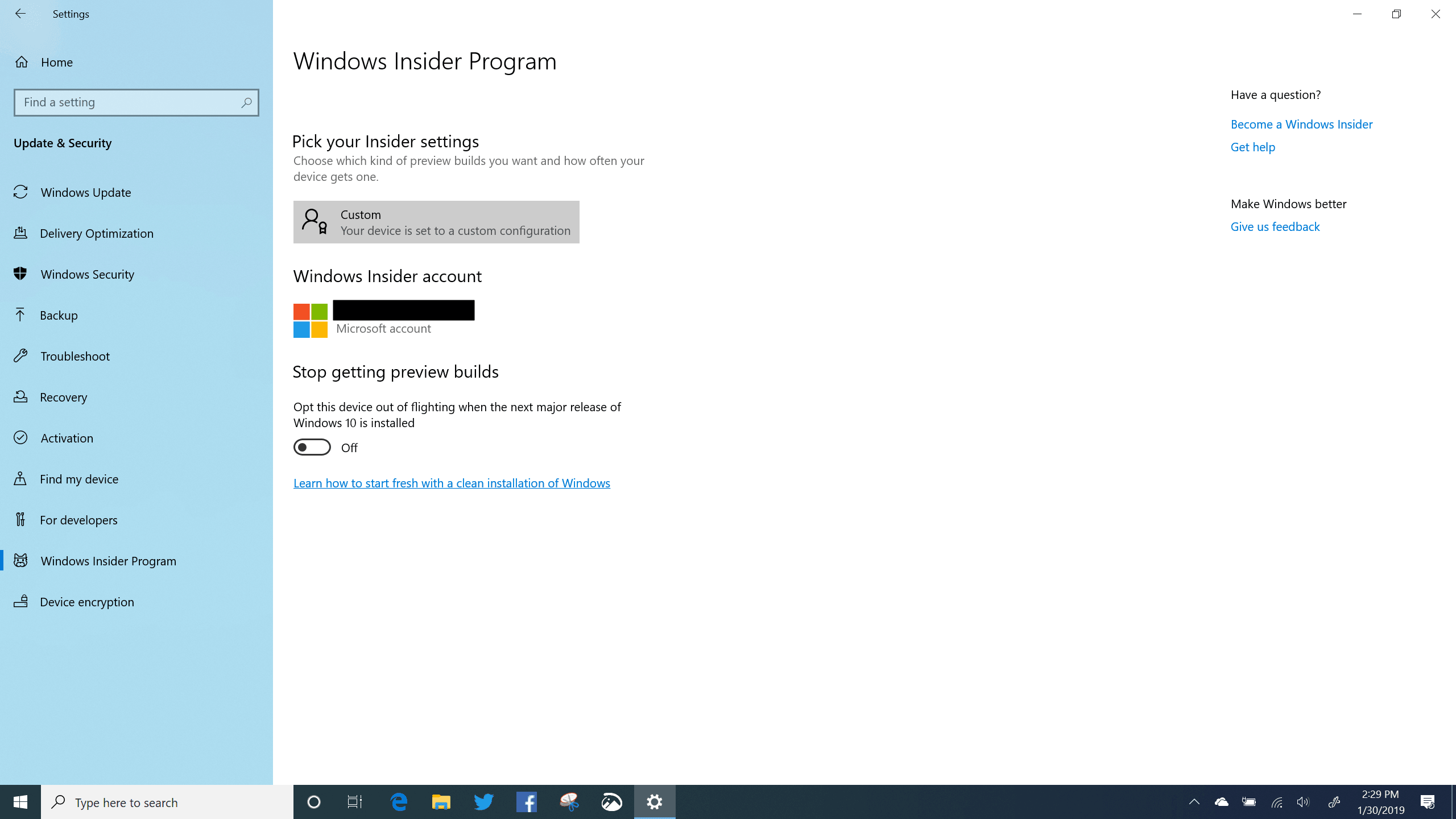 Windows Insider Program Settings on Windows 10 (19H1)