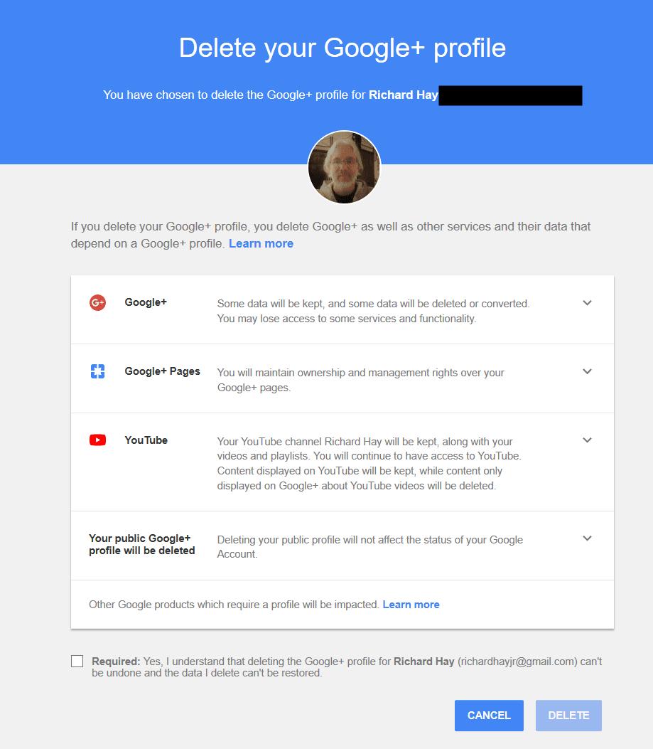 Google+ Profile Deletion Page