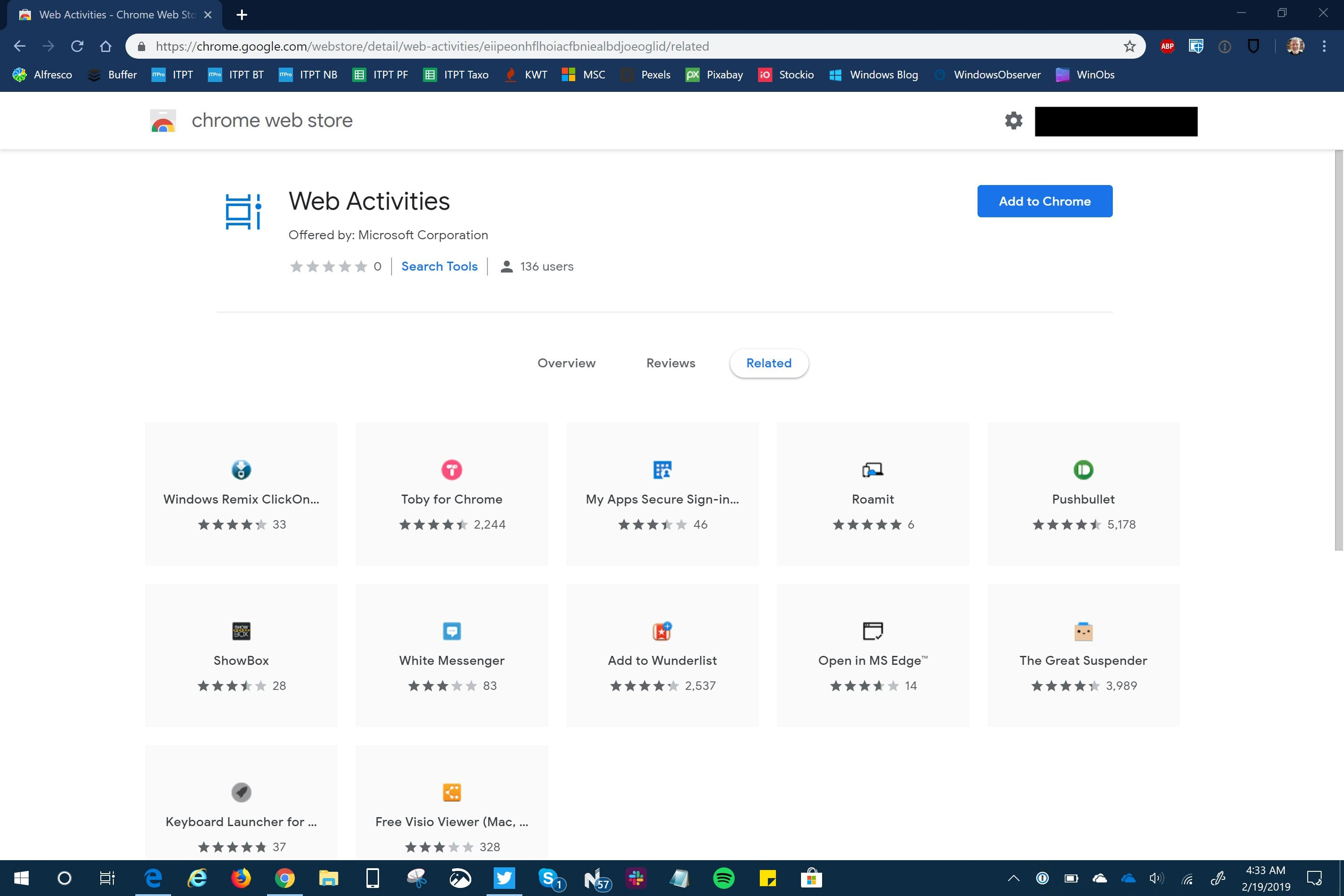 Web Activities Chrome Extension from Microsoft