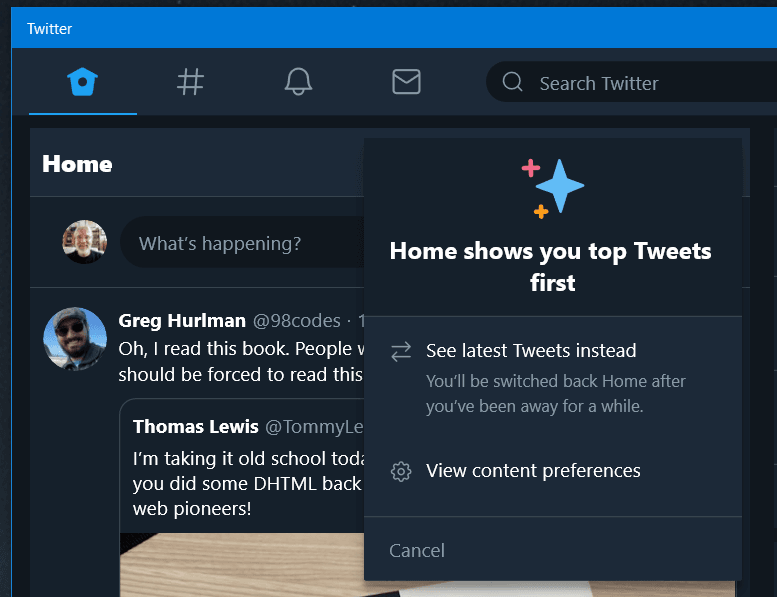 Twitter on Windows 10