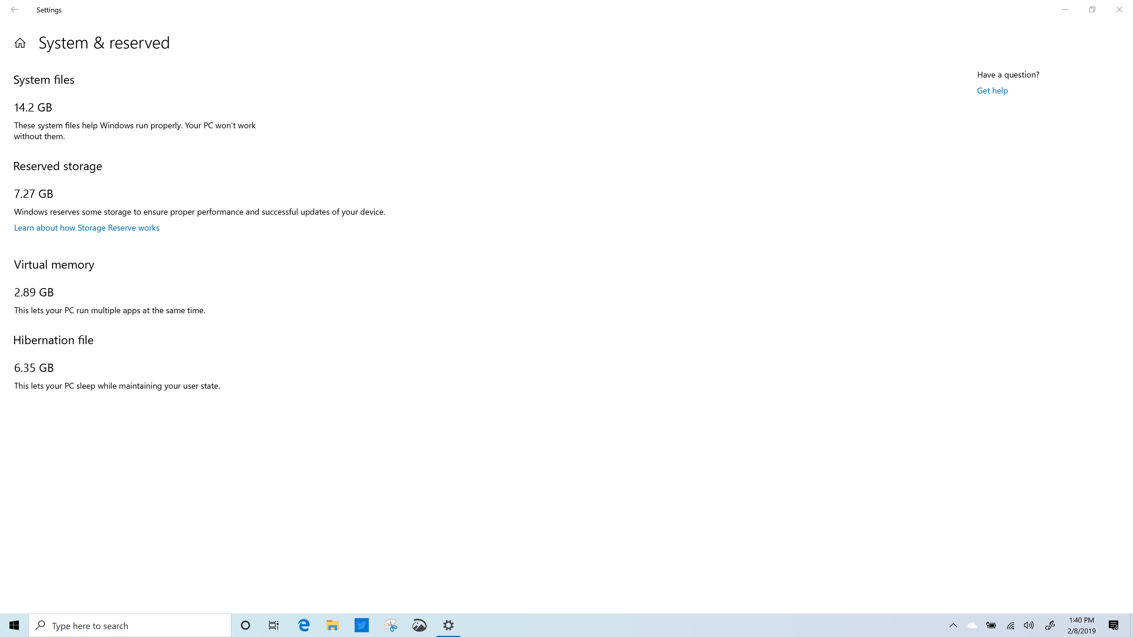 Windows 10 (19H1) Reserved Storage - Spectre x360