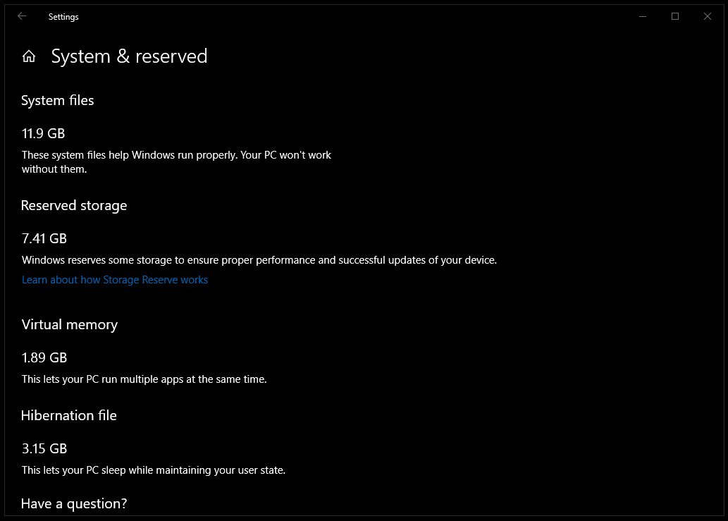 Windows 10 (19H1) reserved Disk Space Build 18329 on EliteOne 1K