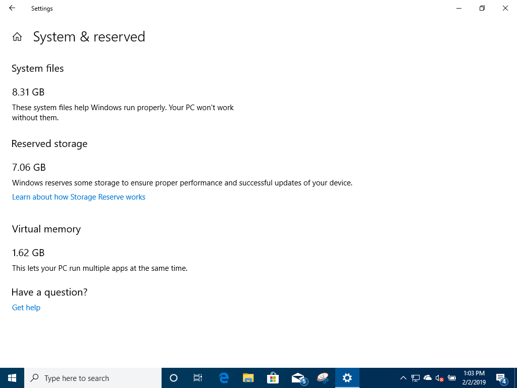 Windows 10 (19H1) reserved Disk Space Build 18329 on Virtual Machine