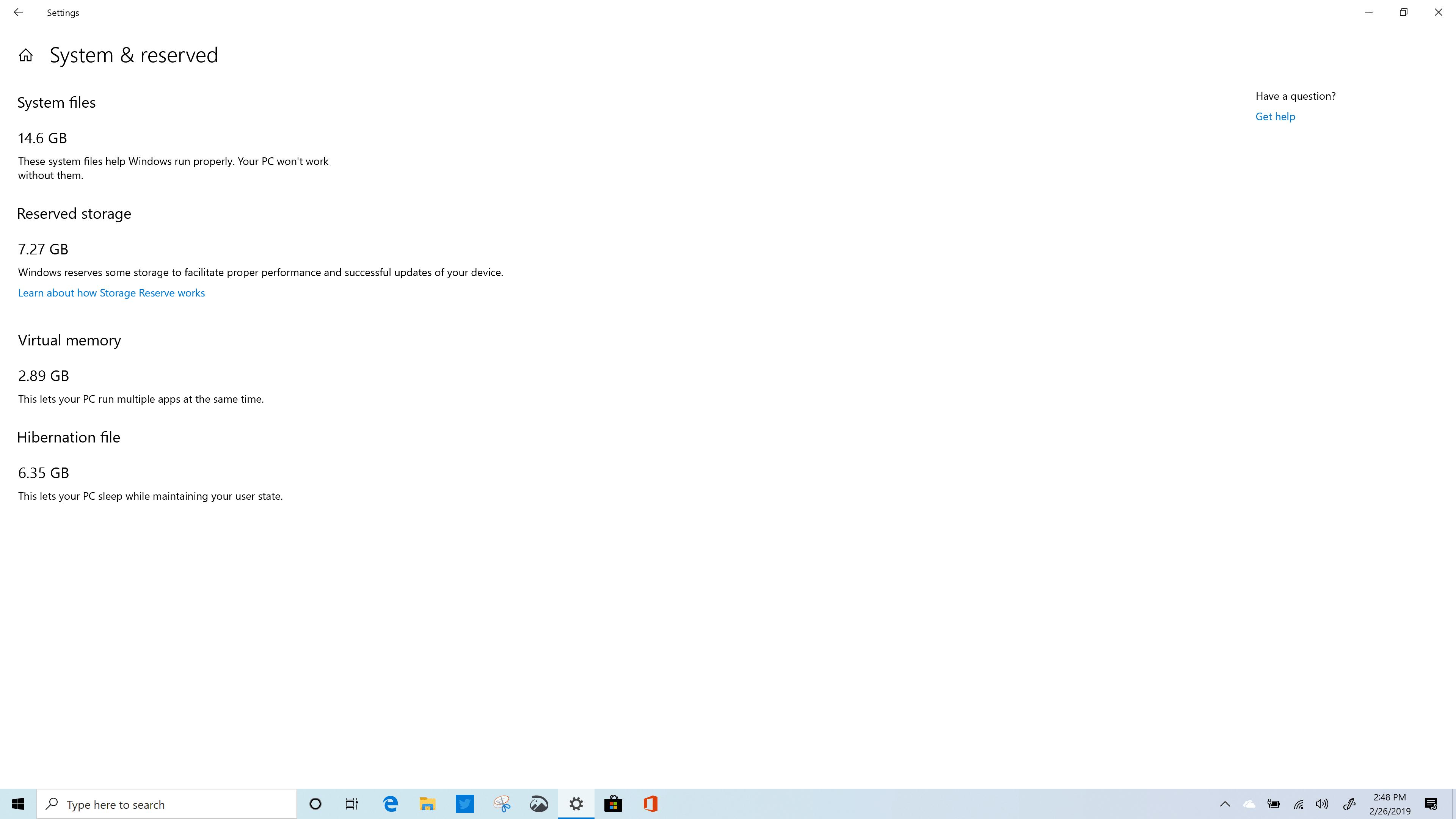 Windows 10 (19H1) Reserved Storage Usage - Build 18346 - HP Spectre x360