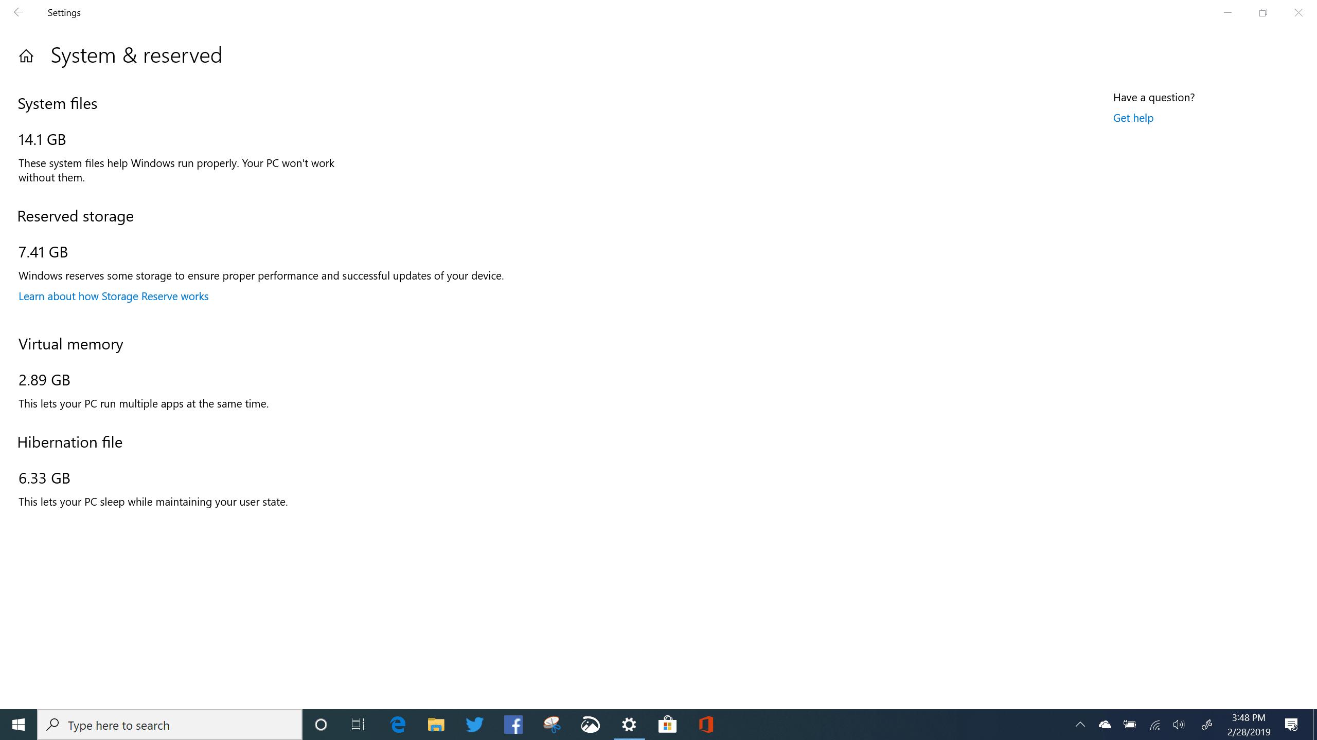 Windows 10 Reserved Storage Build 18845 - X1 Yoga