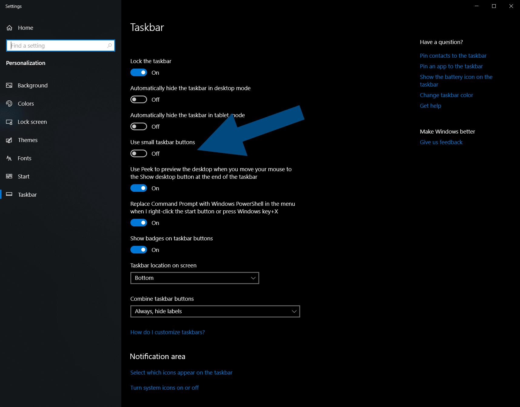 Change Icon Size on Windows 10 Taskbar