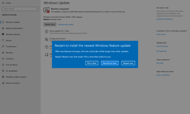 Windows 10 (19H1) Build 18356 Arrives for Fast Ring Insiders