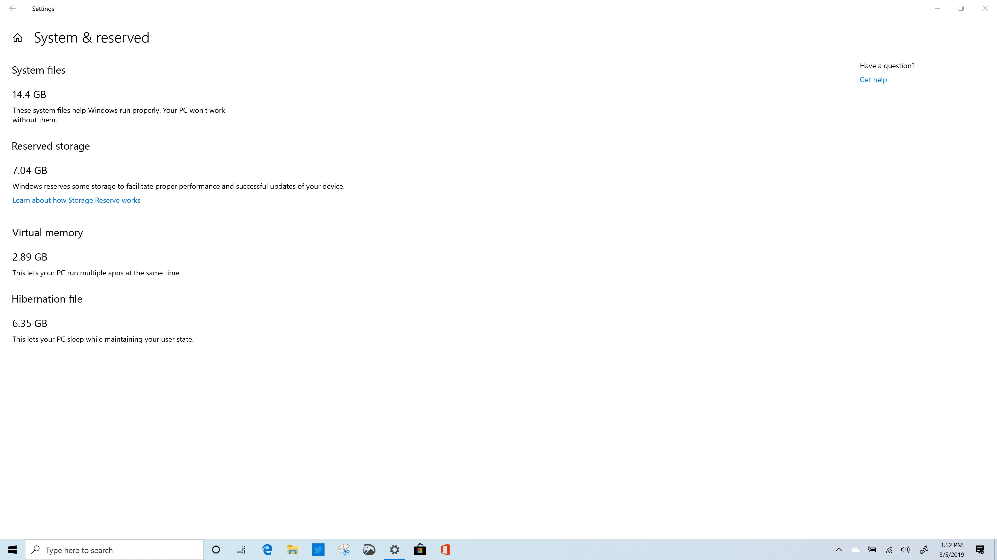 Windows 10 Reserved Storage Build 18351 - x360 Spectre