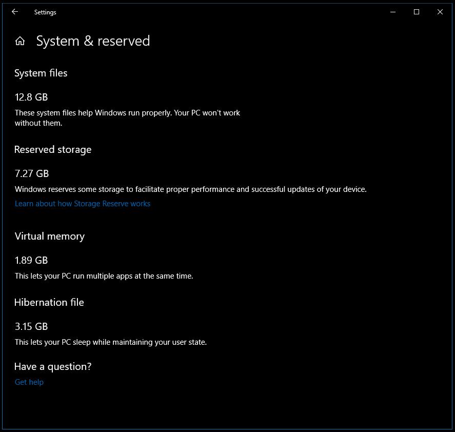 Windows 10 Reserved Storage Build 18353 (19H1) - EliteOne 1K