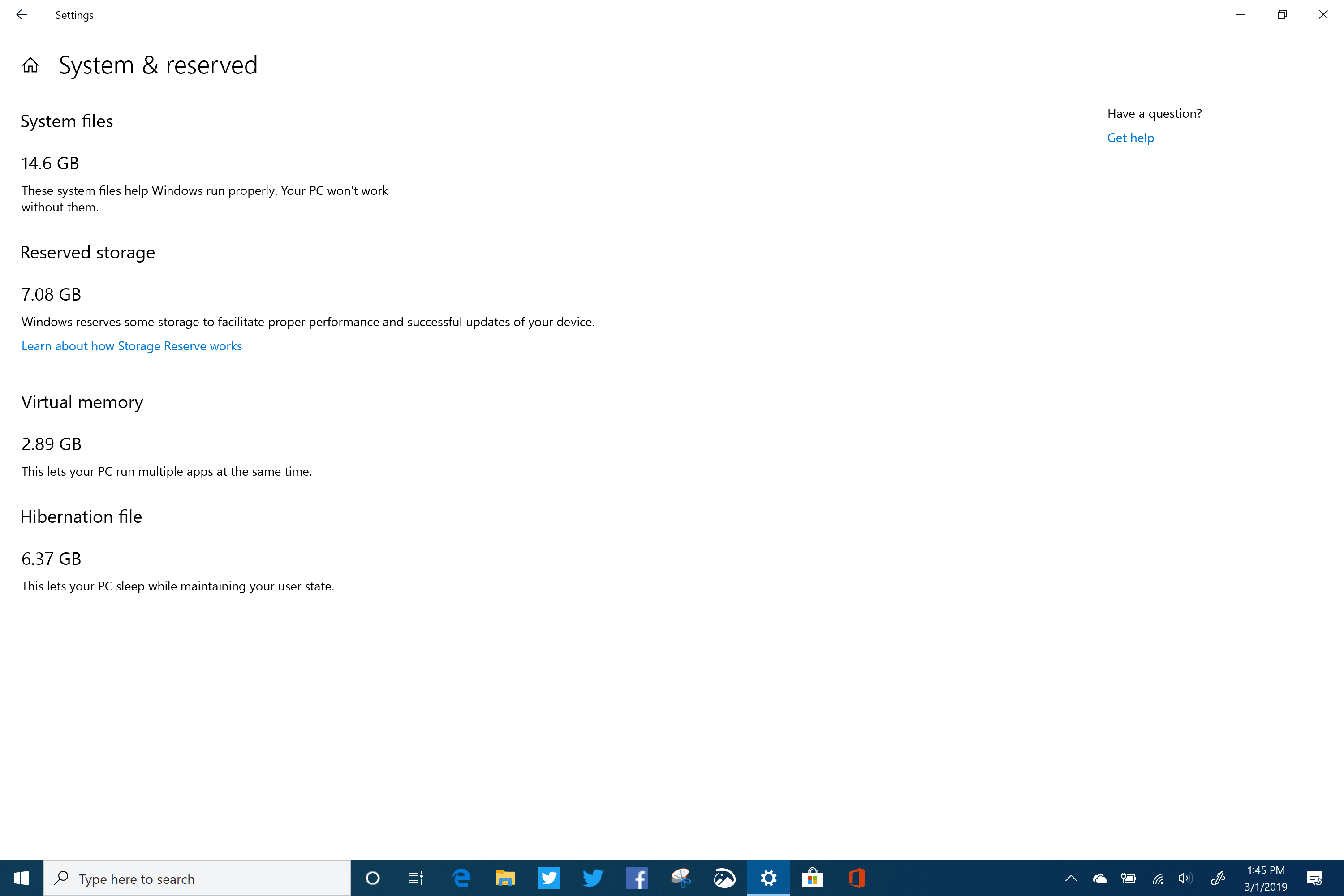 windows 10 (19H1) Reserved Storage - Surface Book