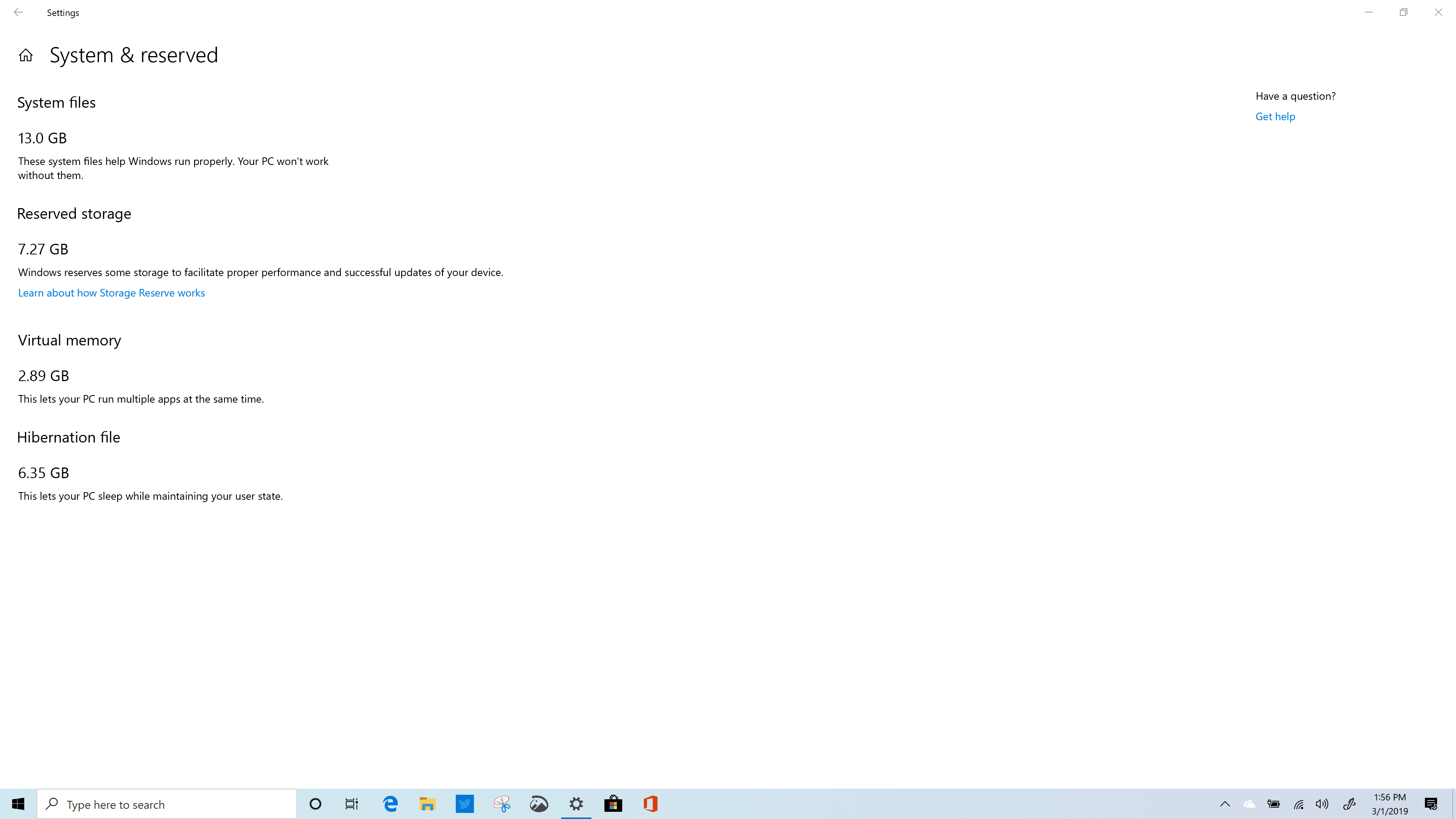windows 10 (19H1) Reserved Storage - x360 Spectre
