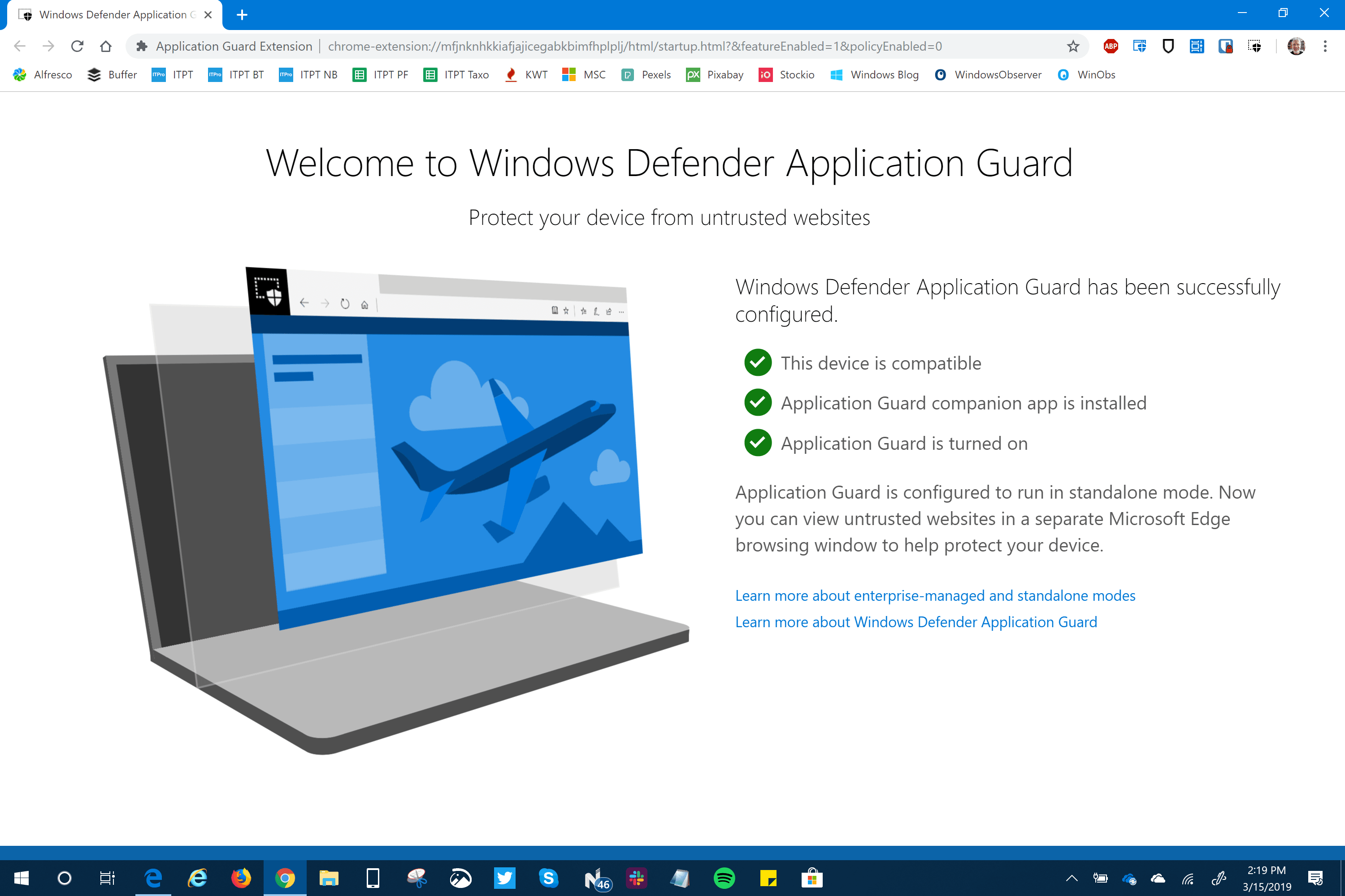 Windows Defender Application Guard Extension for Chrome and Firefox