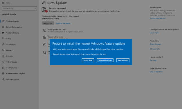 Windows 10 (19H1) Build 18353 Released in Fast Ring