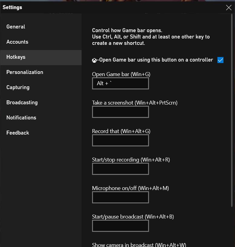 Windows 10 Game Bar Overlay Settings