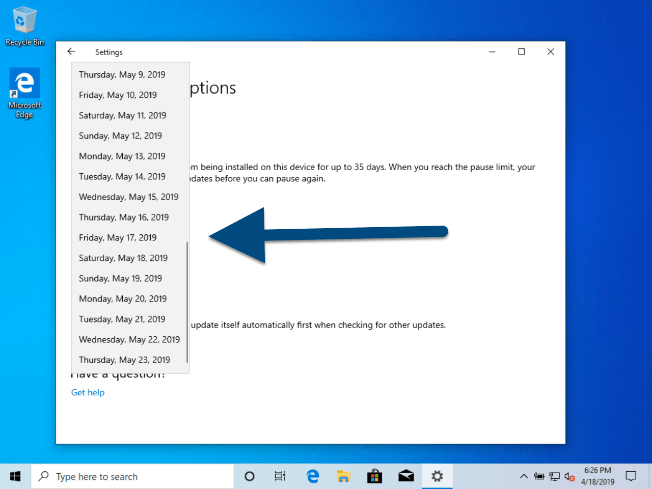 Windows 10 Version 1903 Pause Updates