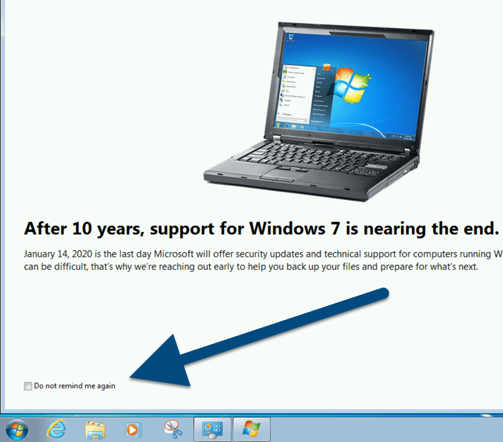Windows 7 End of Support Reminder Page