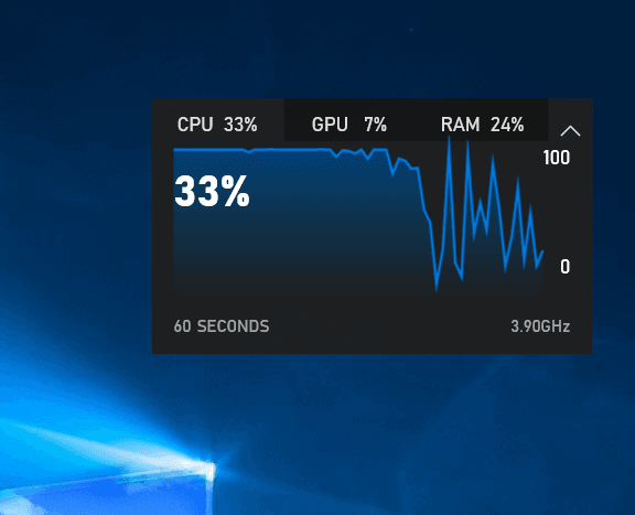 Windows Game Bar Performance Applet Pinned to Desktop