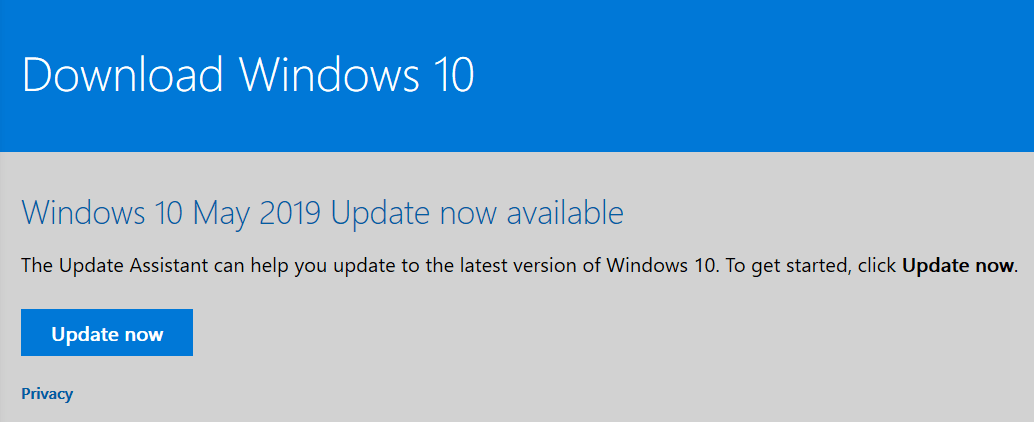 Download Windows 10 - In Place Upgrade