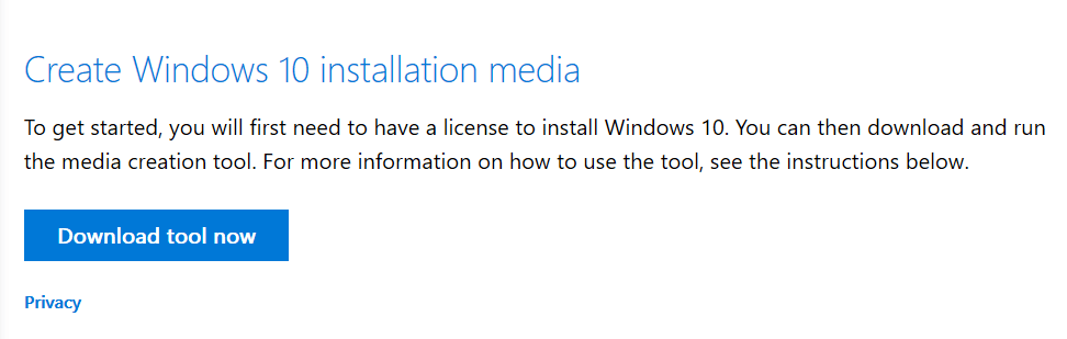 Windows 10 May 2019 Update - Media Creation Tool