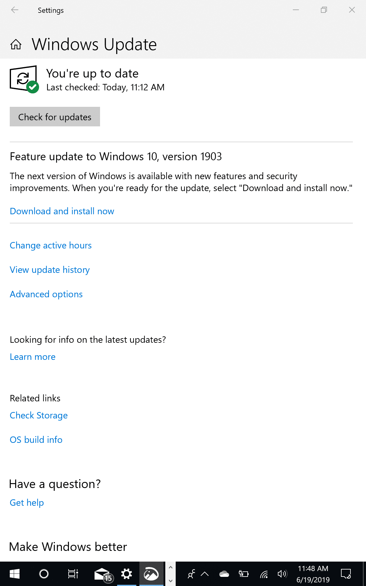 Windows Update Notice for Windows 10 Version 1903