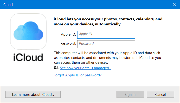 Windows 10 Apple iCloud App and Service