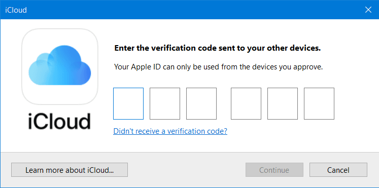 Windows 10 Apple iCloud App and Service