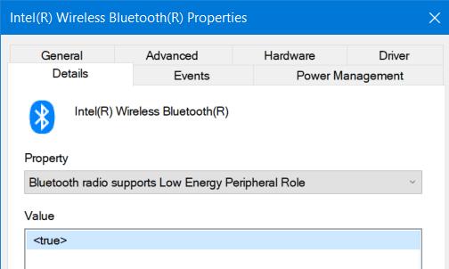 Windows 10 Bluetooth Radio Properties