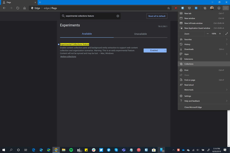 Microsoft Edge Chromium Collections