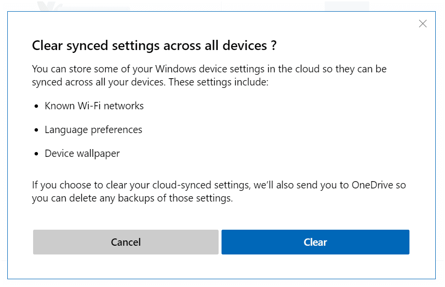 How to Clear Synced Settings Dialog