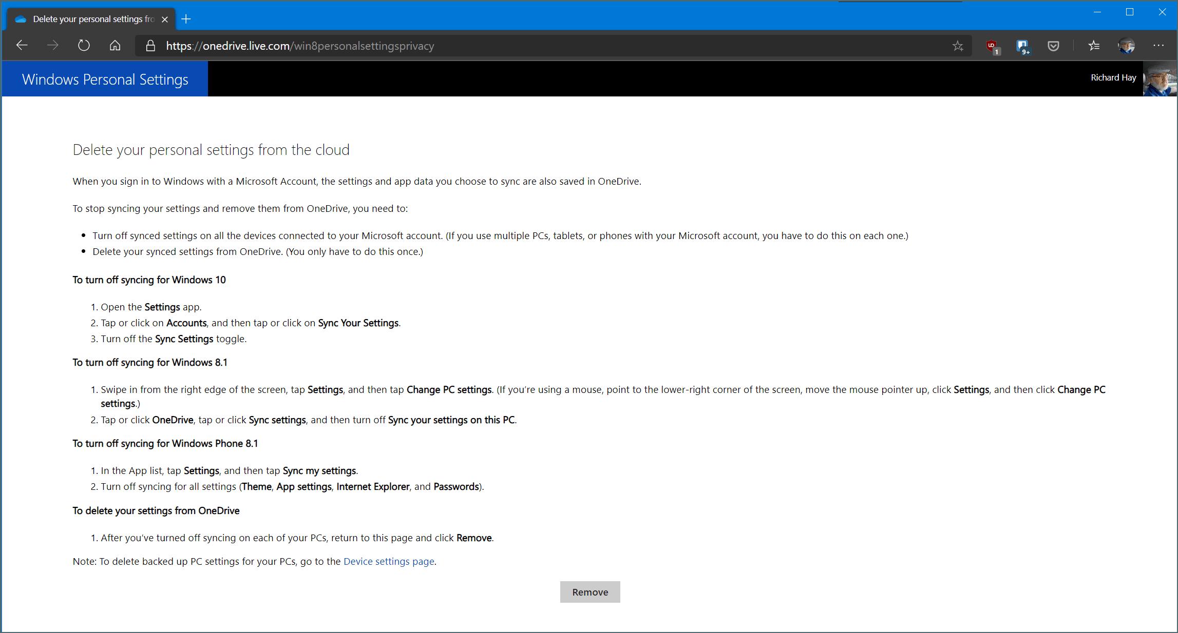 Windows Personal Settings Dialog